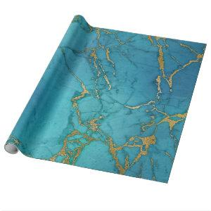 Turquoise Blue Gold Metallic Marble Stone Wrapping Paper
