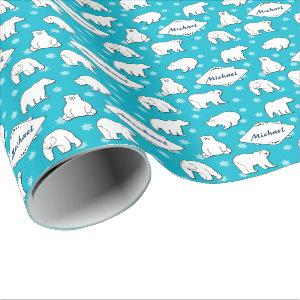 Turquoise Blue Polar Bears Snowflakes Monogrammed Wrapping Paper