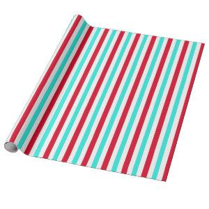 Turquoise Red and White Striped Wrapping Paper