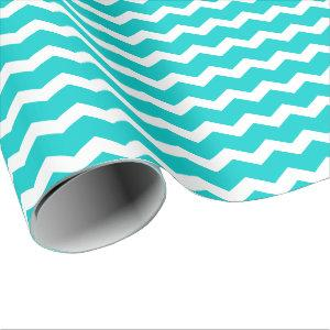 Turquoise Teal Chevron Wrapping Paper