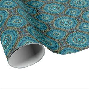 Turquoise Teal Green Mandala Round Star Pattern Wrapping Paper