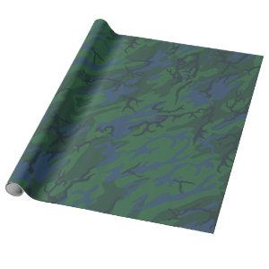 Twilight Green Camo Wrapping Paper
