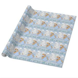 Twin Boys - Stork Baby Shower Wrapping Paper