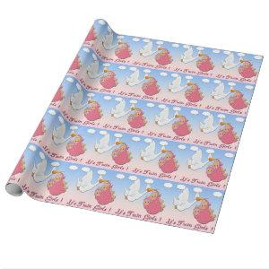 Twin Girls Blonde - Stork Baby Shower Wrapping Pap Wrapping Paper