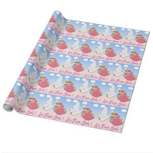Twin Girls Stork Baby Shower Wrapping Paper
