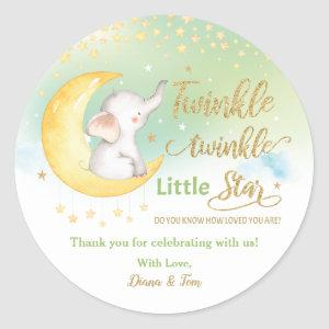 Twinkle Little Star Elephant Green Favor Thank You Classic Round Sticker