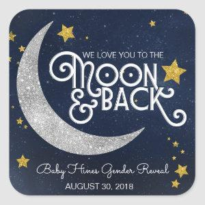 Twinkle Little Star Moon & Back Baby Shower Square Sticker
