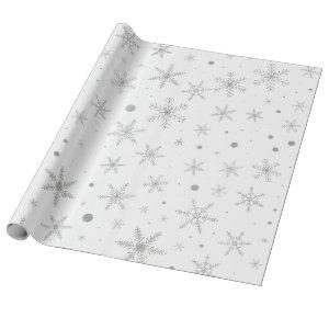 Twinkle Snowflake -Silver Grey & White- Wrapping Paper