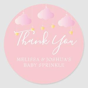 Twinkle Twinkle Baby Shower Thank You Pink Classic Round Sticker