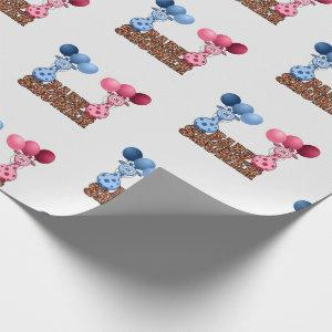 Twins Blue and Pink Giraffes Baby Shower Safari Wrapping Paper
