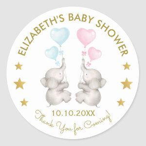 Twins Elephant Gender Reveal Blue Pink Favor Tag