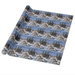 Two arctic wolves painting wrapping paper