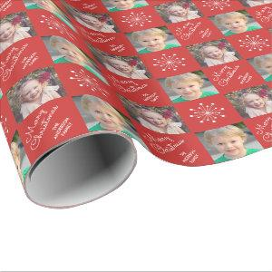 Two Photo Frame Snowflake Red Merry Christmas Wrapping Paper