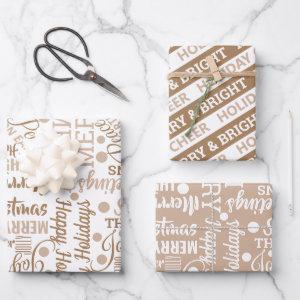 Typography Holiday Assortment Neutral Modern Wrapping Paper Sheets
