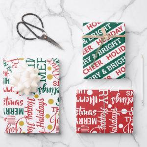 Typography Holiday Assortment Red Green Modern Wrapping Paper Sheets
