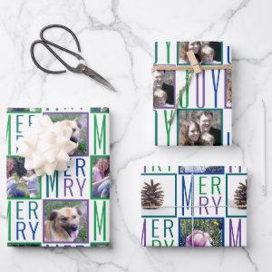 Typography Square Photos Cool Colors Wrapping Paper Sheets