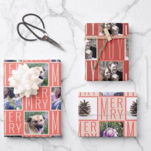 Typography Square Photos Coral Pink Cute Retro Wrapping Paper Sheets