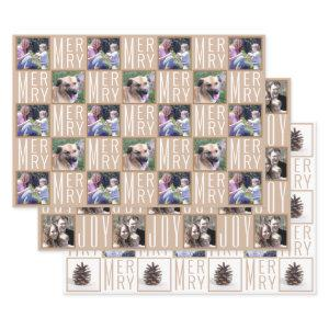 Typography Square Photos Neutral Colors Wrapping Paper Sheets