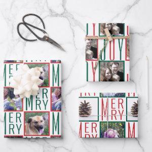 Typography Square Photos Red Green And White Wrapping Paper Sheets
