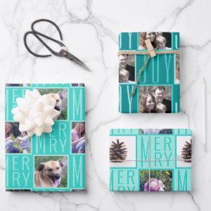 Typography Square Photos Turquoise Cute Retro Wrapping Paper Sheets