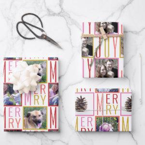 Typography Square Photos Warm Colors Wrapping Paper Sheets