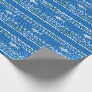 Ugly Sweater Style Great White Christmas Blue Wrapping Paper