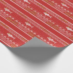 Ugly Sweater Style Great White Shark Christmas Red Wrapping Paper