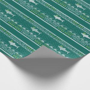 Ugly Sweater Style Great White Shark Christmas Wrapping Paper
