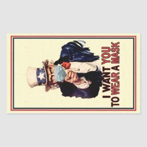 Uncle Sam Wants You to Wear a Face Mask USA Rectangular Sticker