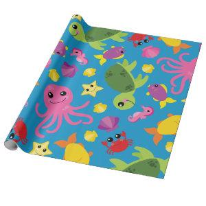 Under the Sea Cute 1st Birthday Wrapping Paper