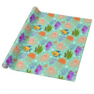 """Under the Sea Glossy Wrapping Paper, 30"""" x 6' Wrapping Paper"""