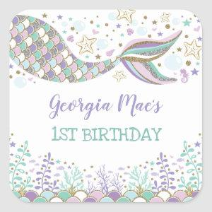 Under the Sea Mermaid Birthday Favor Beach Baby Square Sticker