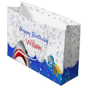 Under the sea shark birthday party boys large gift bag