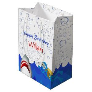 Under the sea shark birthday party boys medium gift bag