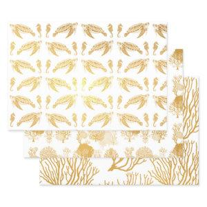 Under the Sea Turtles Coral Fish Sea Horses Foil Wrapping Paper Sheets