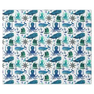 Under The Sea Watercolor Ocean Marine Nautical Wrapping Paper
