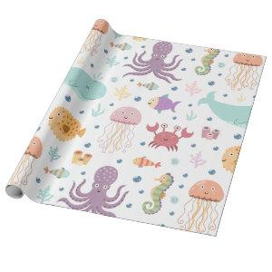 Under the Sea Whale Pattern Wrapping Paper
