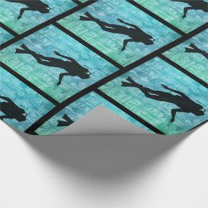 Underwater Diver Water Sports Theme Green and Blue Wrapping Paper
