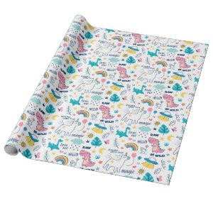 Unicorn And Dinosaur Pattern Wrapping Paper