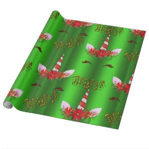 Unicorn Christmas Believe Wrapping Paper