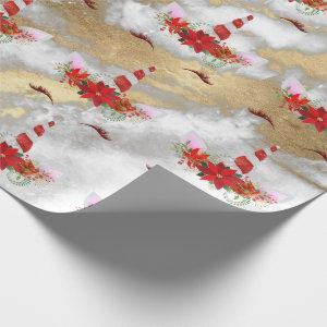 Unicorn Christmas Holidays Marble Red Rose Gold Wrapping Paper