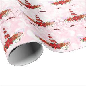 Unicorn Christmas Holidays Pink Glitter Red Gold Wrapping Paper