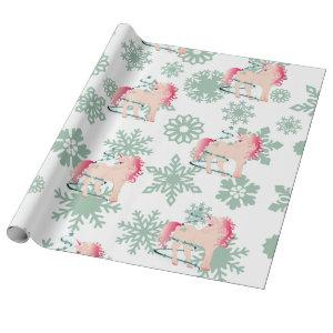 Unicorn  Cute Girl Whimsical Snowflakes Wrapping Paper