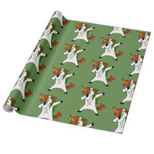 Unicorn Dabbing Festive Holiday Christmas Wrapping Paper