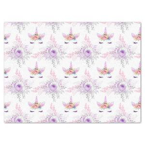 Unicorn Faces with Purple Flowers on White Tissue Paper