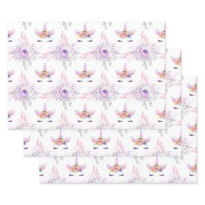 Unicorn Faces with Purple Flowers on White Wrapping Paper Sheets