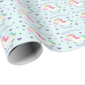 Unicorn Glitter Rainbow Aqua Christmas Wrapping Paper