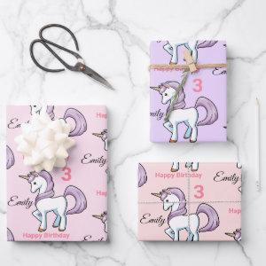 Unicorn Little Girl's Birthday Party Gift Wrapping Paper Sheets