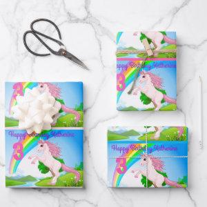 Unicorn Little Girl's Birthday Party Gift Wrapping Wrapping Paper Sheets