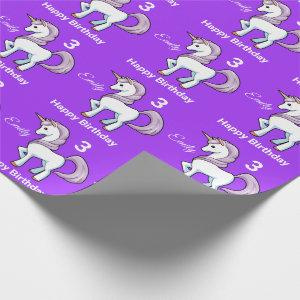 UNICORN Little Girl's Personalize Name Birthday Wrapping Paper